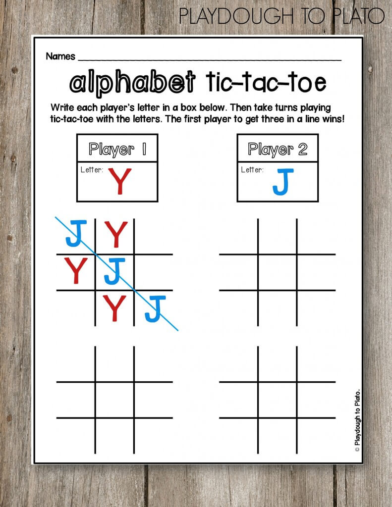 FREE Alphabet Tic-Tac-Toe!! Such a fun ABC game for kids. This would be great for sight words too!