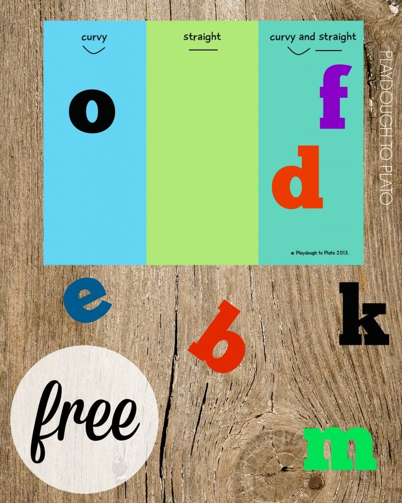 Free ABC sorting mat. Is the letter curvy, straight or both