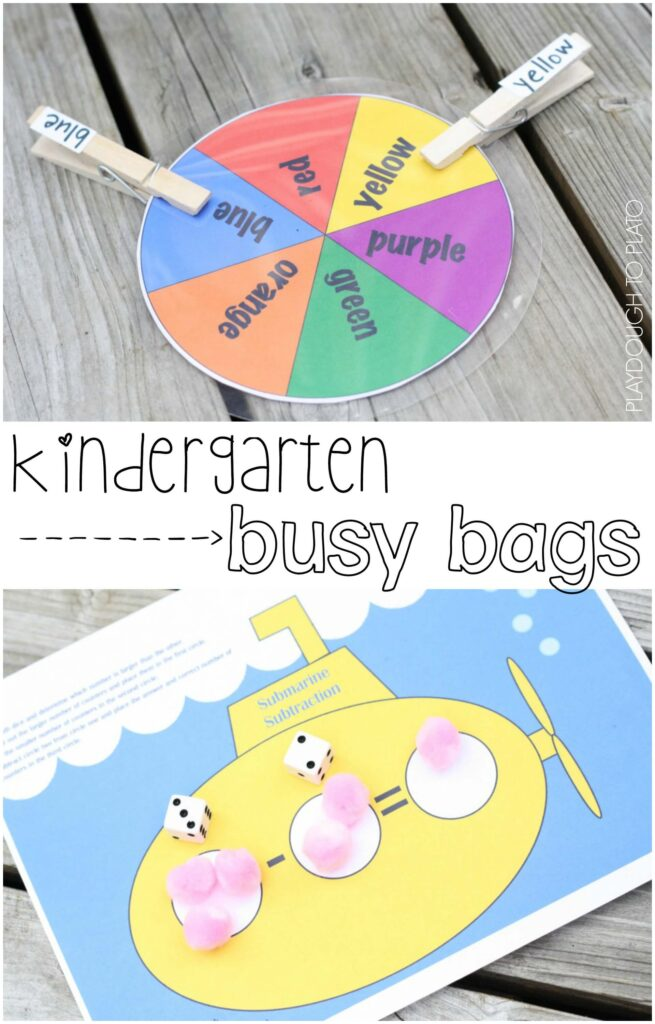 FREE Kindergarten Busy Bags. Fun way to practice reading colors and subtracting.