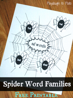 Perfect for Halloween! Free printable spider sort helps kids learn word families. {Playdough to Plato}