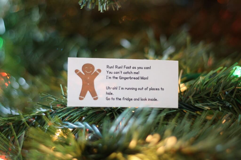 Free printable gingerbread man hunt. Playful way to practice reading. {Playdough to Plato}