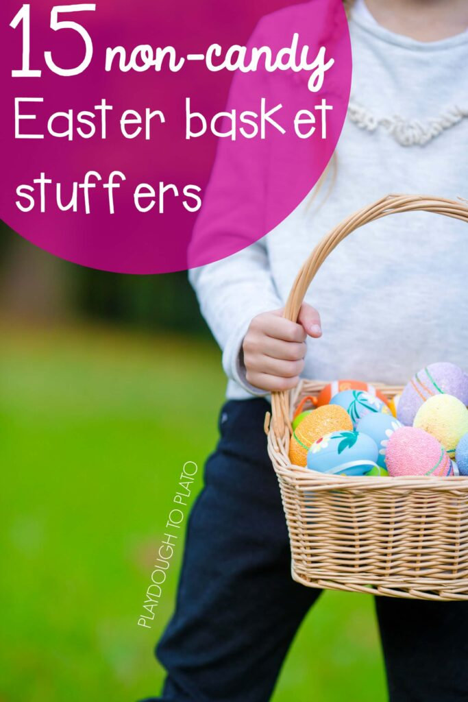 15 non-candy Easter basket stuffers. Tons of great ideas for filling kids' Easter baskets without a sugar crash.