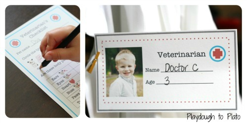Free printables to set up a pretend play veterinarian's office for your kids. {Playdough to Plato}