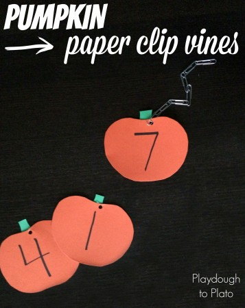 Fine Motor Skills: Pumpkin Paper Clip Vines