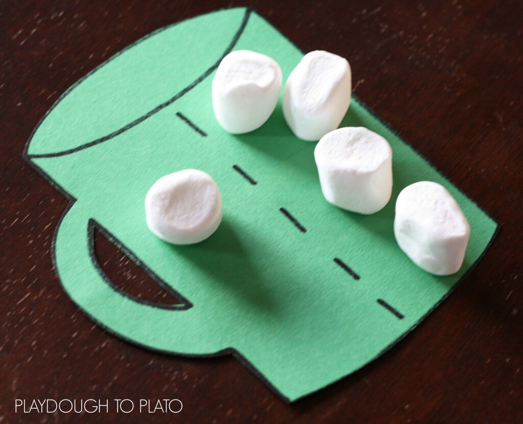 Marshmallow math game for kids.