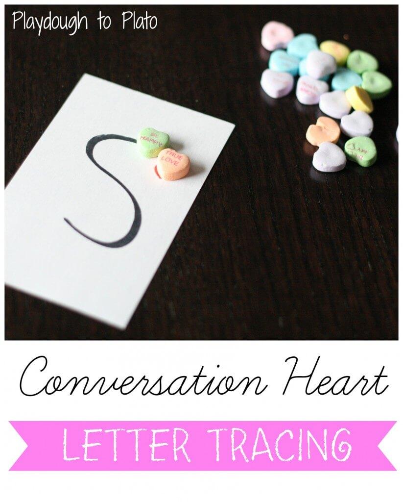 Conversation Heart Letter Tracing. {Playdough to Plato}