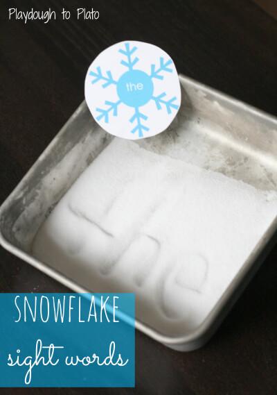Free printable snowflake sight words. {Playdough to Plato}