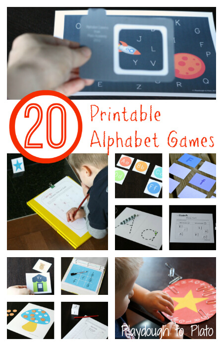 Alphabet Mega Pack: 20 Printable Alphabet Games {Playdough to Plato}