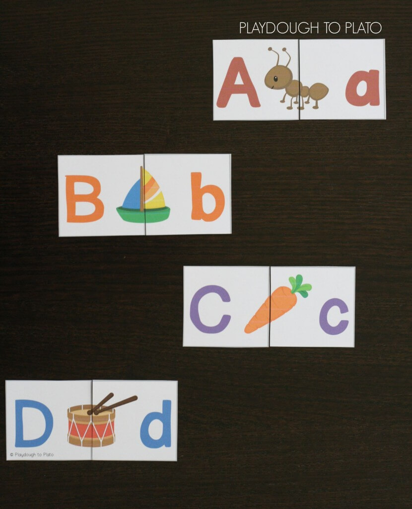 What a brilliant way to work on upper and lowercase pairs AND letter sounds at the same time.