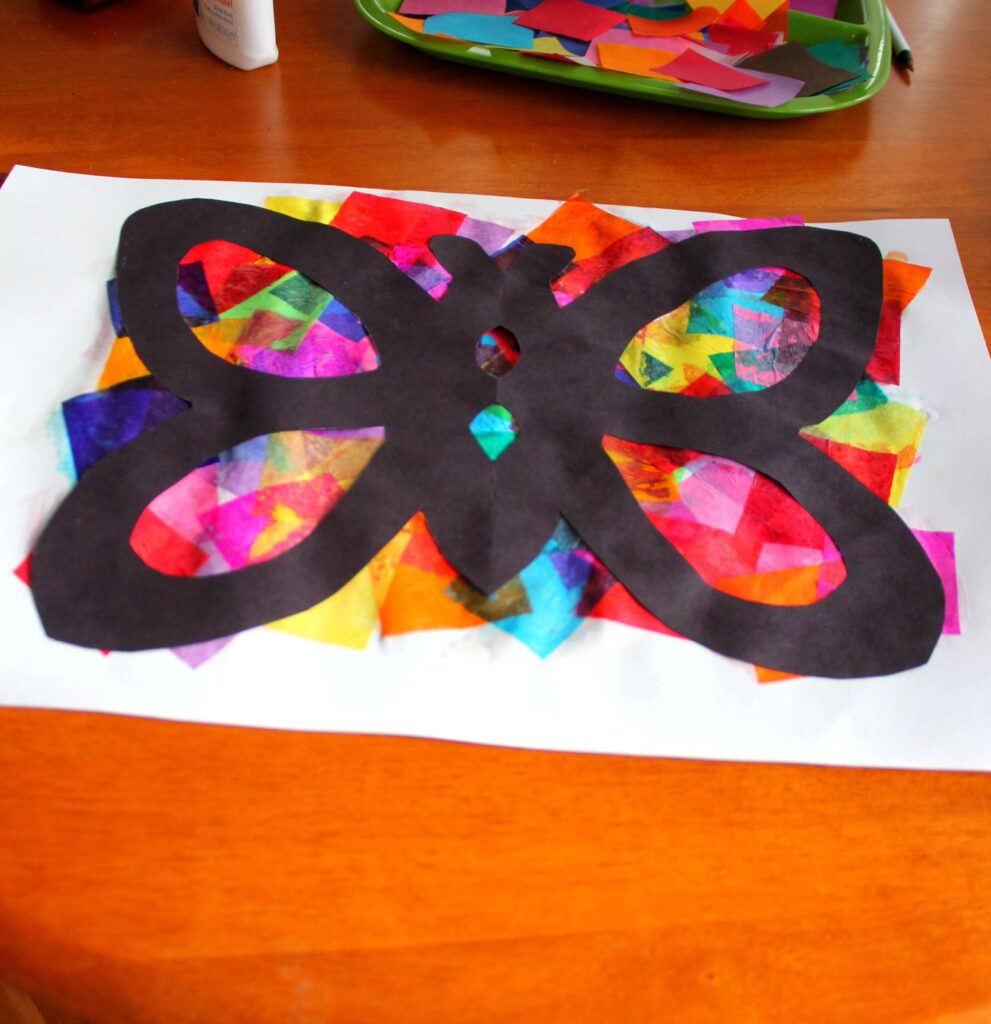Spring Craft for Kids: Tissue Paper Butterflies {Playdough to Plato}
