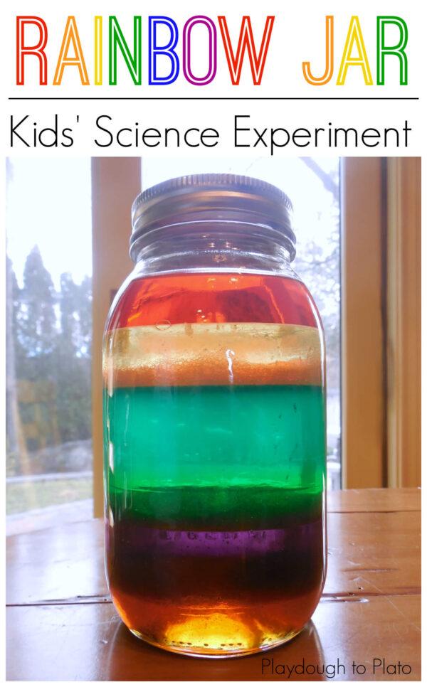Science for kids, kids science, rainbow jar, make a rainbow in a jar