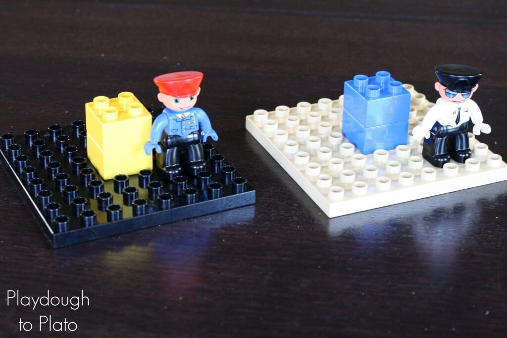Fun, low prep LEGO Game- Where's LEGO Man? {Playdough to Plato}