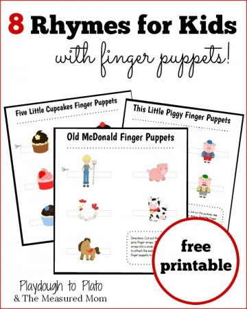 8 rhymes for kids with printable finger puppets