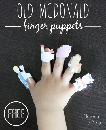 Free printable Old McDonald finger puppets. So cute!! {Playdough to Plato}