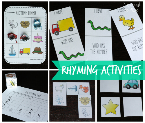 The rhyming activities help new readers notice patterns in words. Games include I Have-Who Has, Rhyming Bingo, The Rhyming Race, Dominoes and Memory.