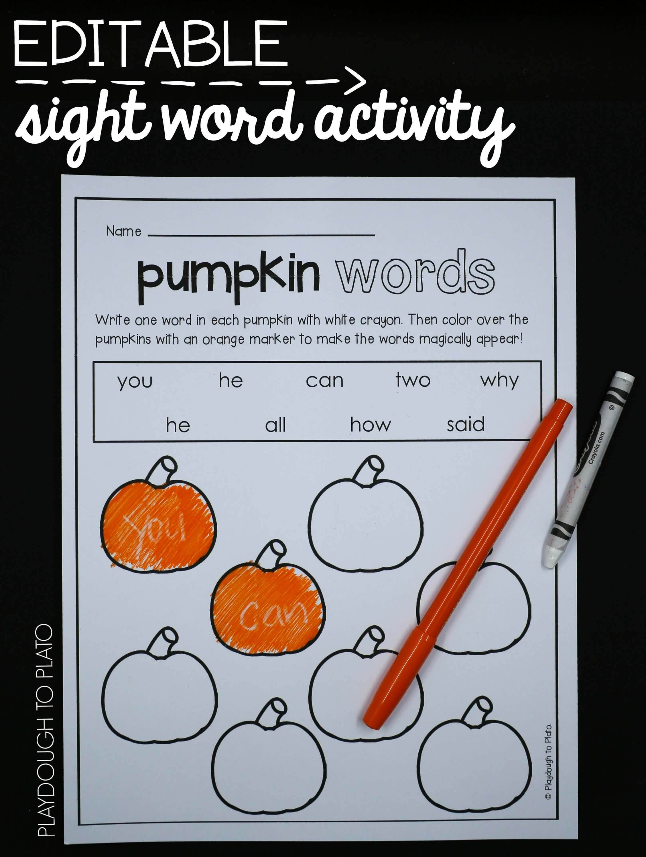 Pumpkin Activity Pack - Preschool and Kindergarten - Playdough To Plato