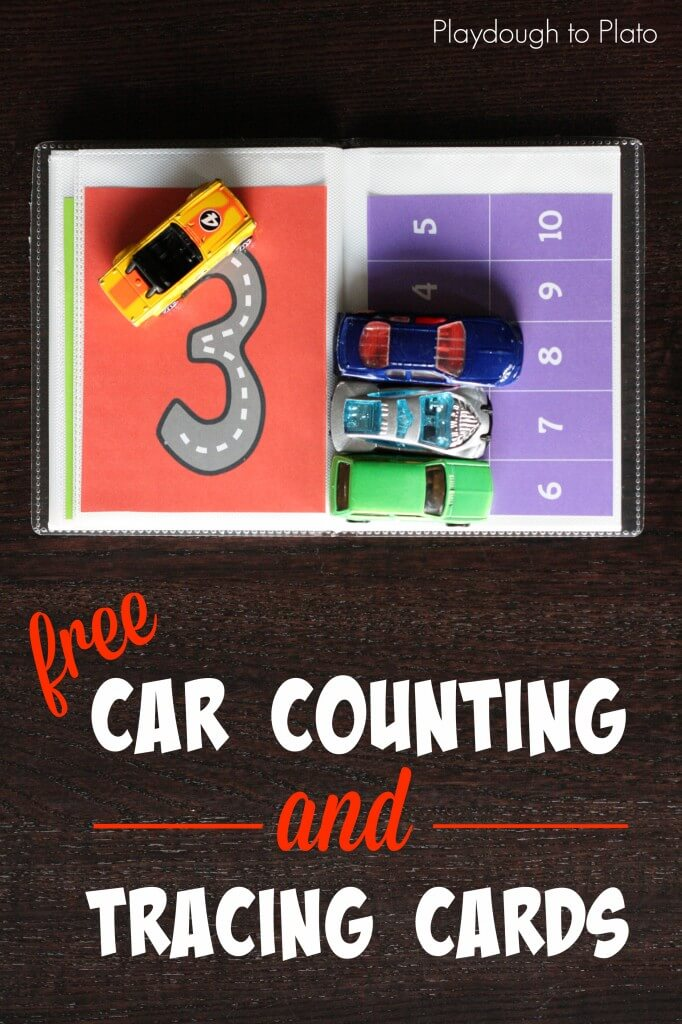 FREE Car counting and tracing cards. Such an awesome way to teach kids about numbers!!