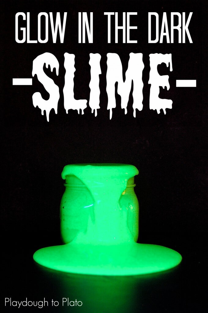 Super awesome glow in the dark slime. {Playdough to Plato}
