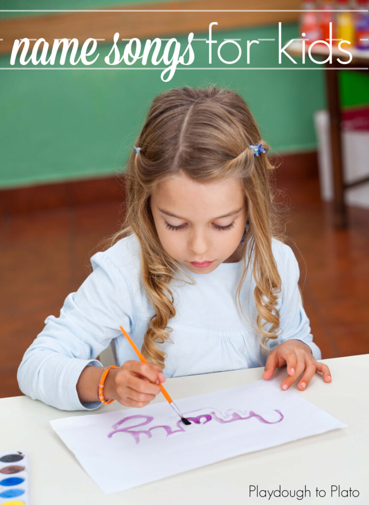 Name Songs for Kids. Such an awesome way to help kids learn how to spell their names. {Playdough to Plato}