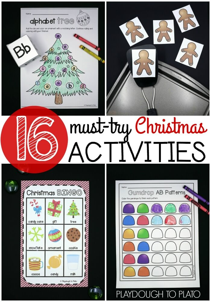 16 must-try Christmas activities. Perfect for a Christmas unit or Christmas party! ABC games, sight word activities, math printables, and a class set of Christmas Bingo!