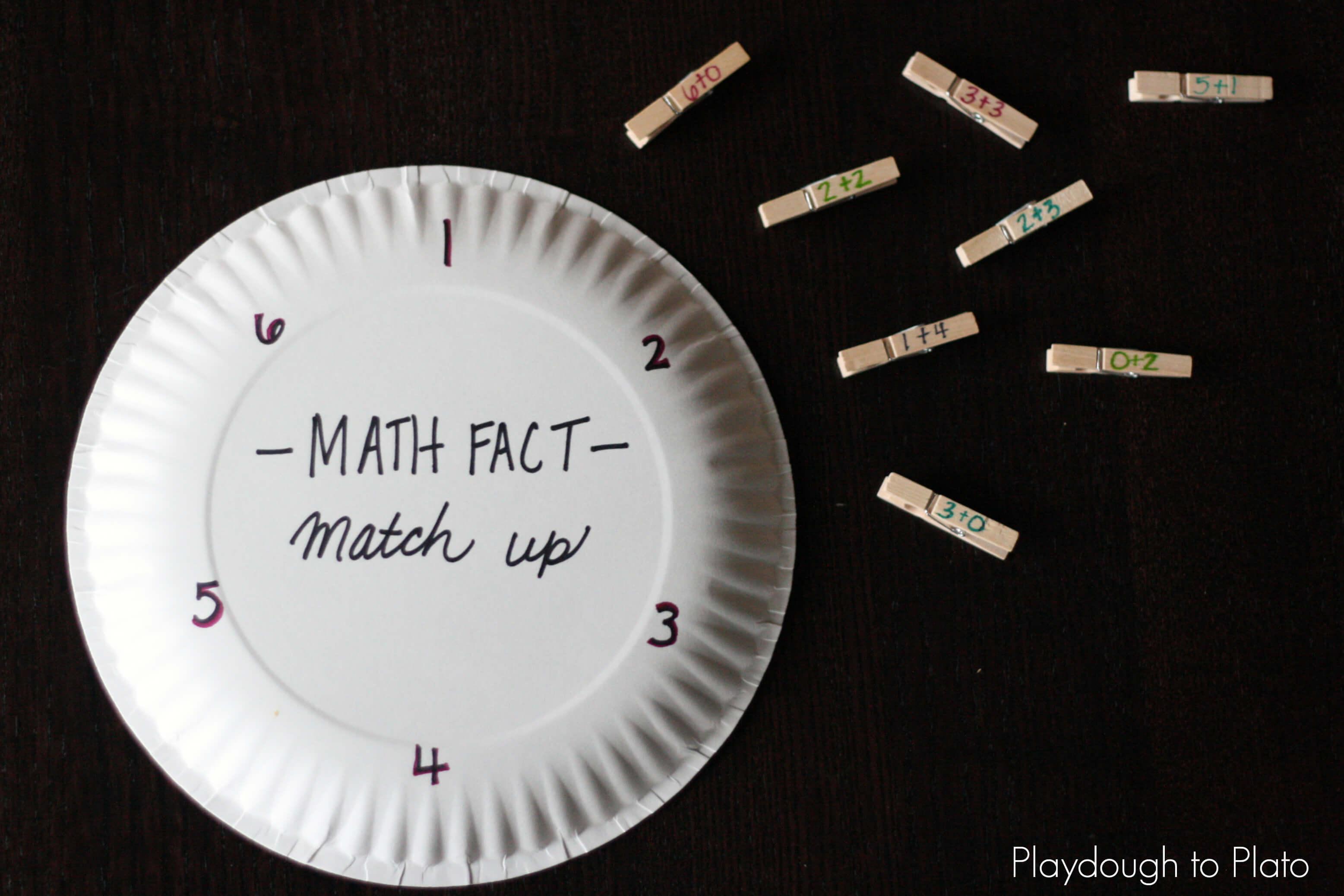 Math Fact Match Up - Playdough To Plato