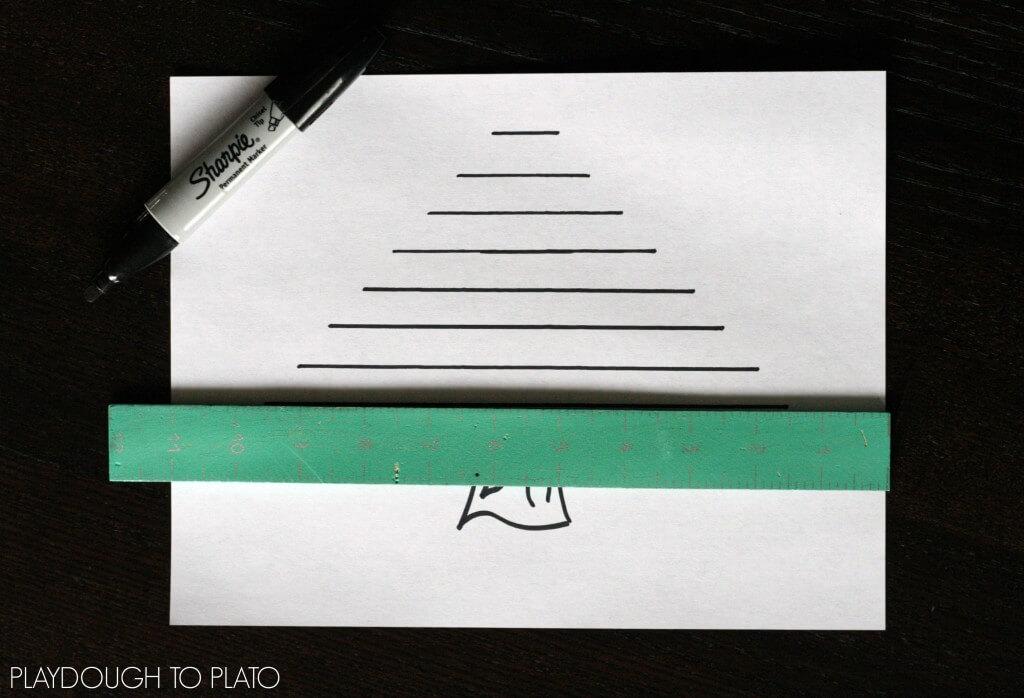 Fun preschool math activity. Christmas tree straw match up!