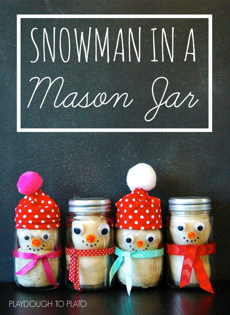 Snowman in a Mason Jar