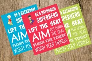 Boys' Bathroom Signs: Be a Bathroom Superhero
