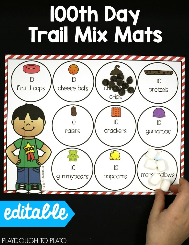 100th Day Of School Activities Editable Playdough To Plato
