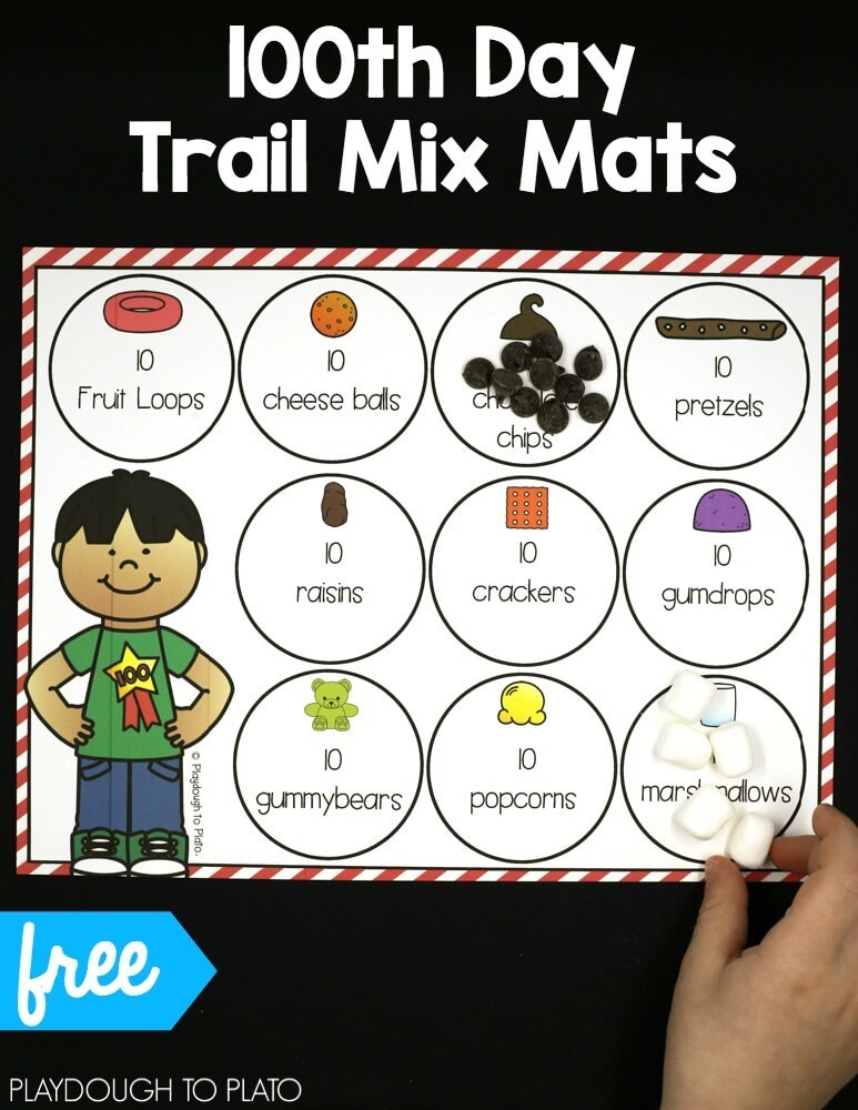 100th Day Of School Trail Mix Mats Playdough To Plato