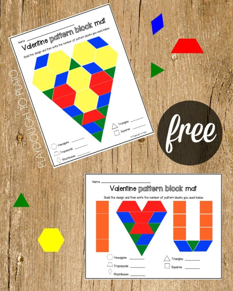 Free Valentine Pattern Block Mats. Such a fun way to practice shapes and counting!