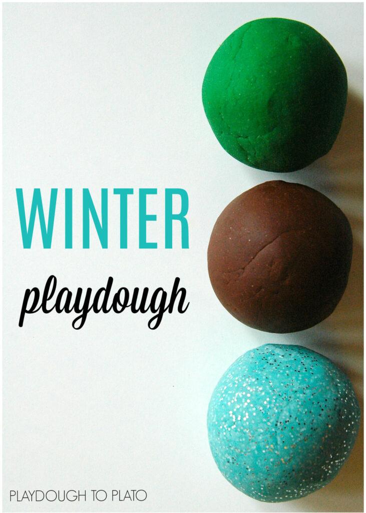 Yum!! Winter playdough recipes. Pine mint and hot chocolate.