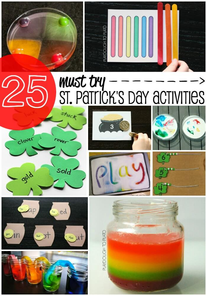 25 Must Try St. Patrick's Day Activities for Kids. Fun math, science and literacy activities for kids. {Playdough to Plato}