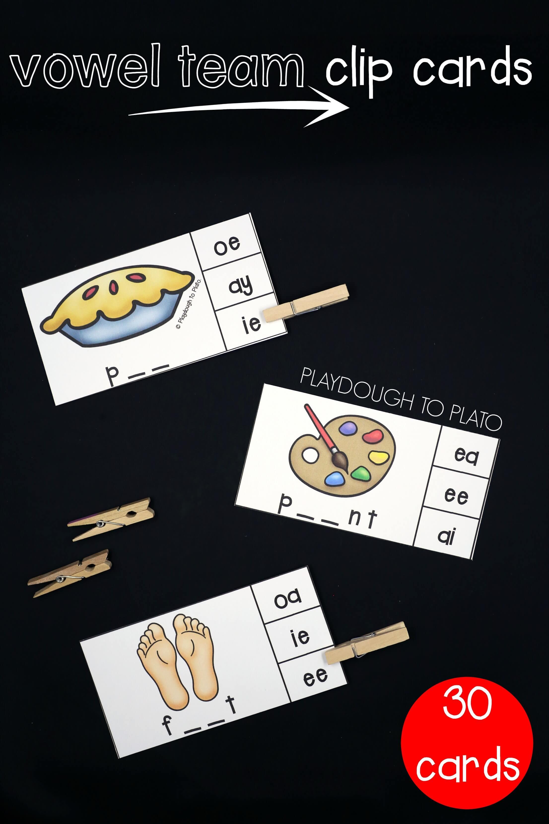 Super motivating vowel team activities playdough to plato 30 vowel team clip cards nvjuhfo Choice Image