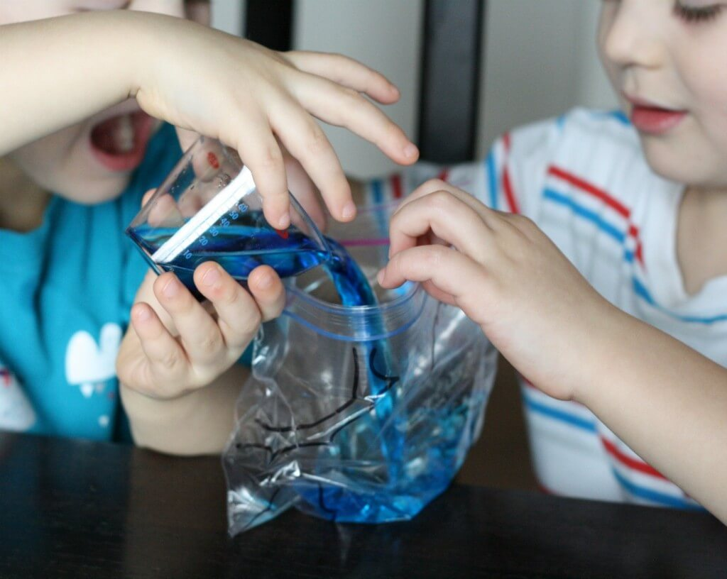 Awesome science for kids! Make a water cycle in a bag.