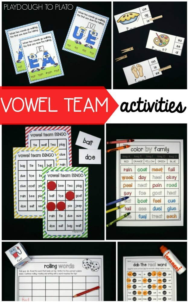 Awesome vowel team activities for kindergarten and first grade.