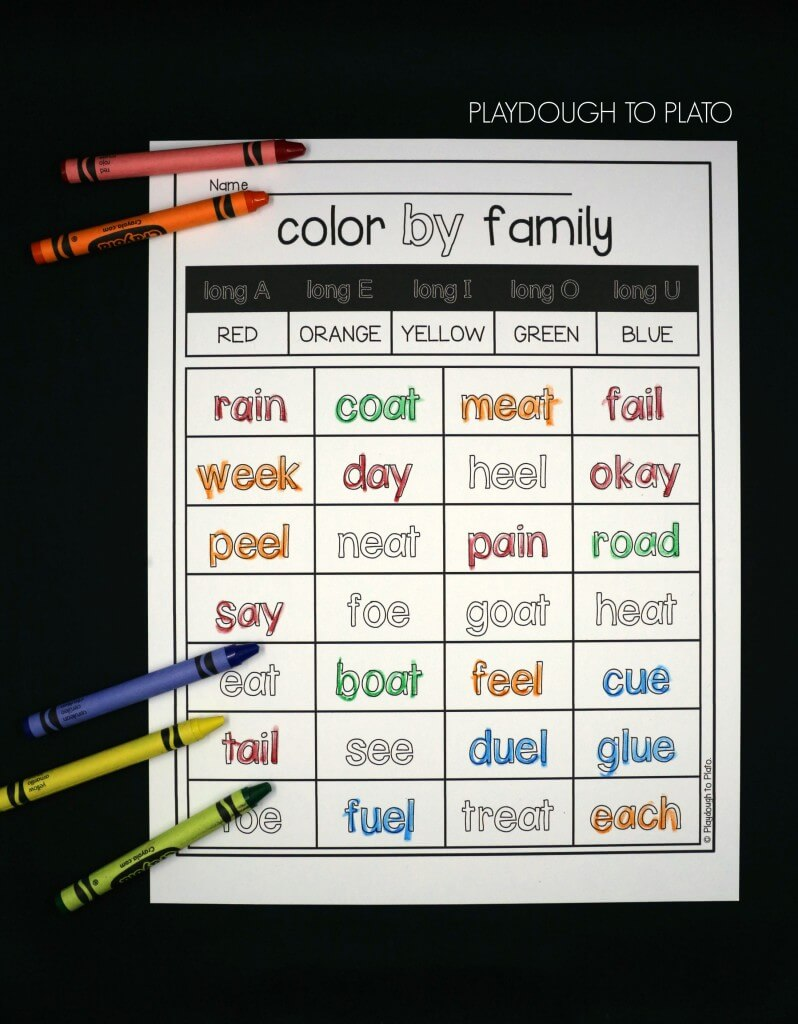 Color each word by long vowel sound