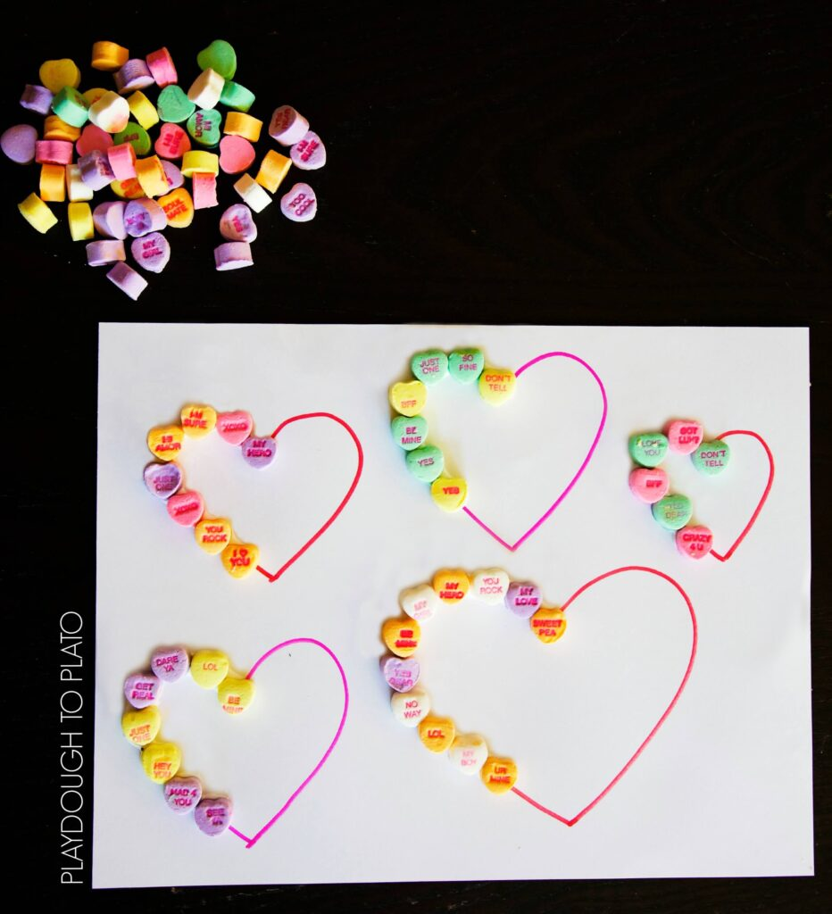Fun, easy prep conversation heart patterns.