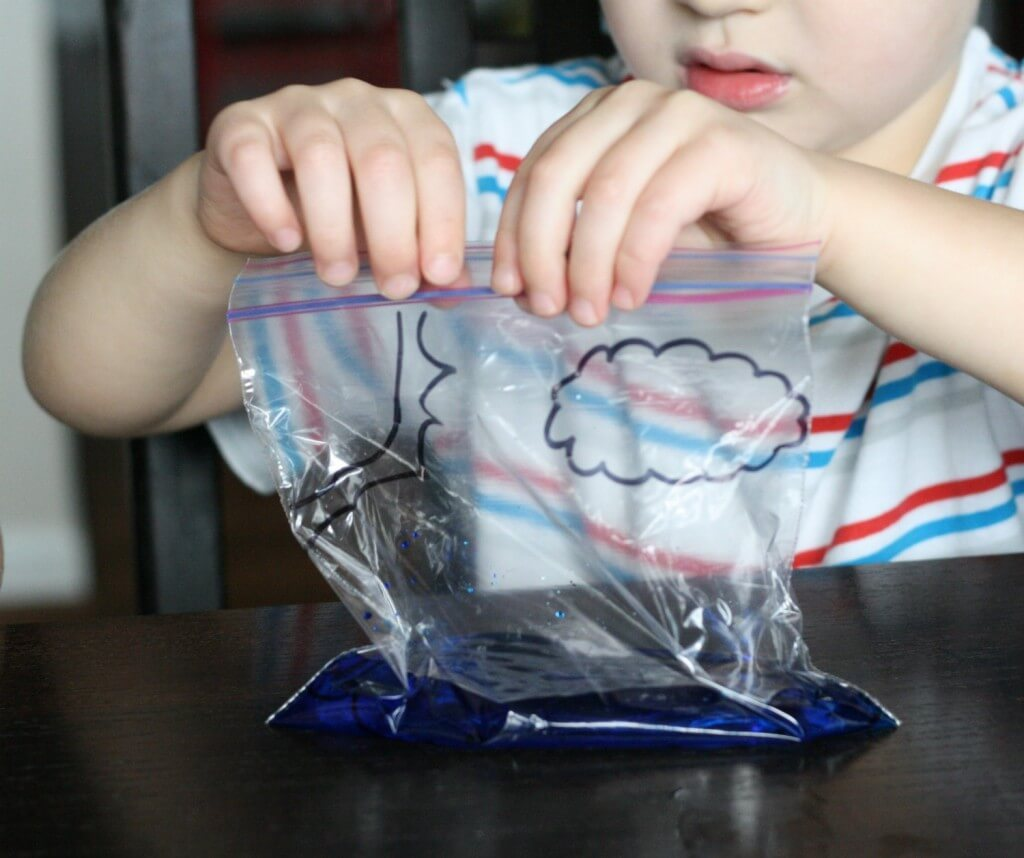 Fun, simple science for kids. Make a water cycle in a bag!