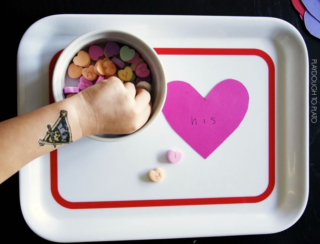 What a fun way to practice sight words! Spell them with candy hearts.