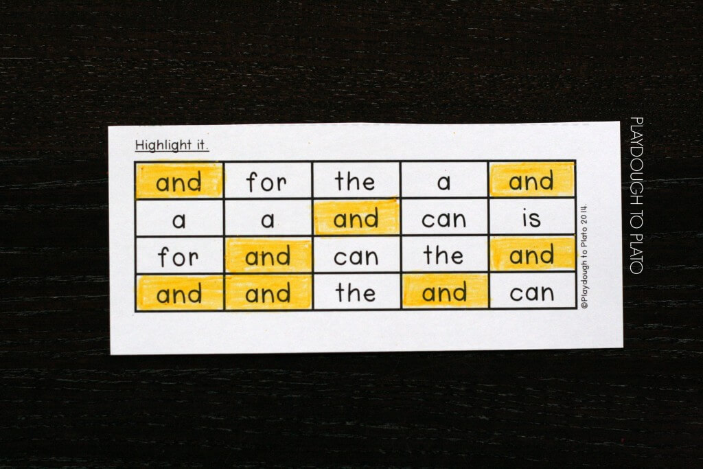 Highlight the sight word.
