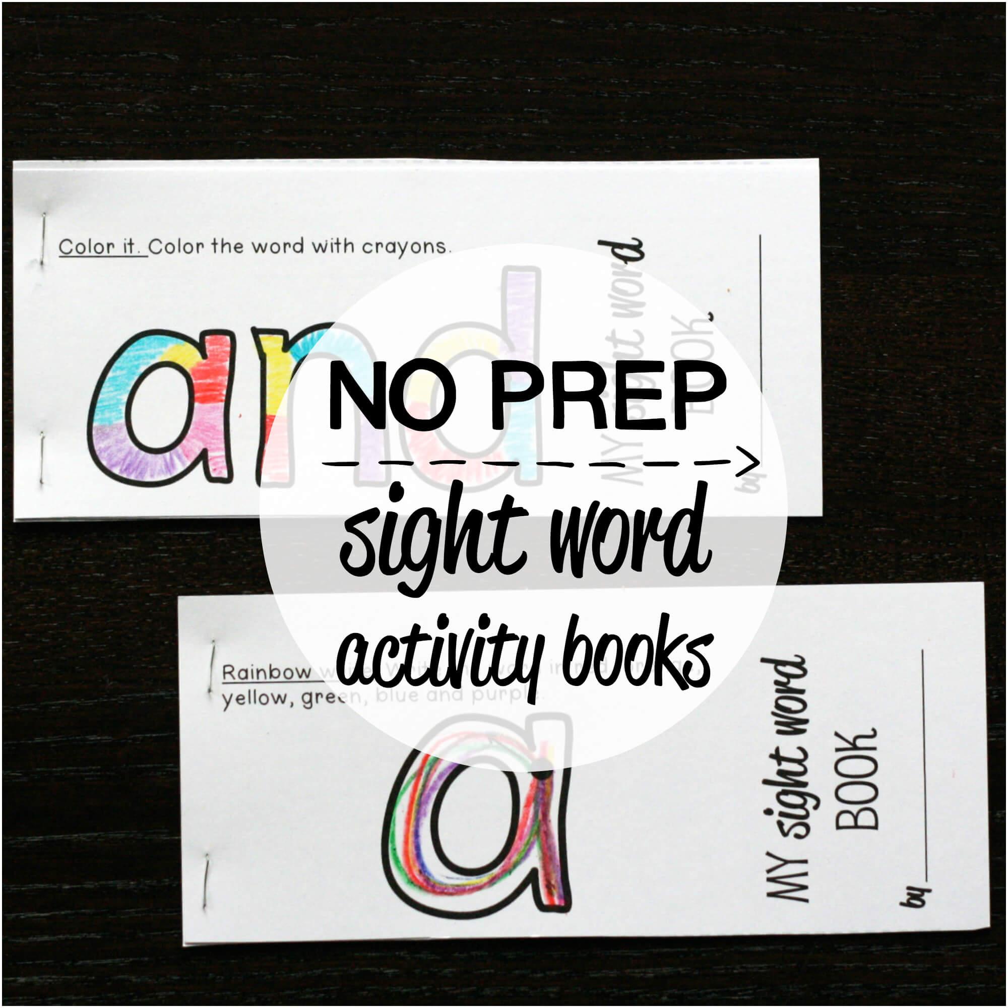 40 NO PREP Sight Word Activity Books – Set #1