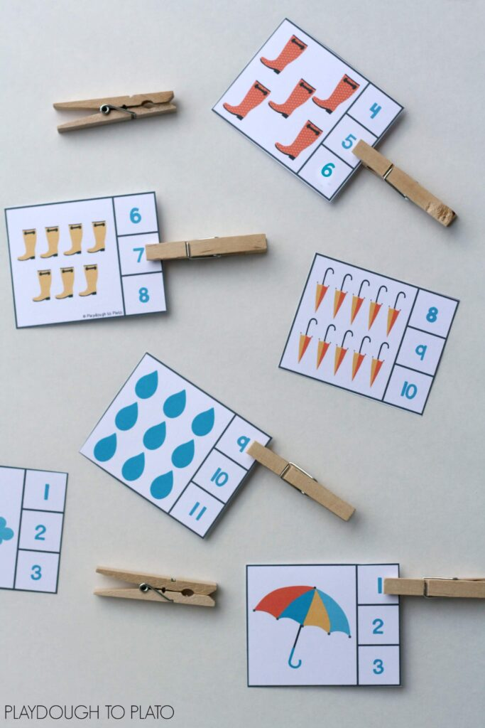 Rainy day number clip cards. Fun for a weather or spring unit!