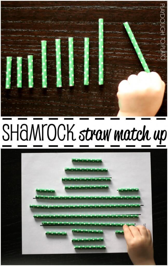 Simple and fun! Shamrock straw match up. {Playdough to Plato}