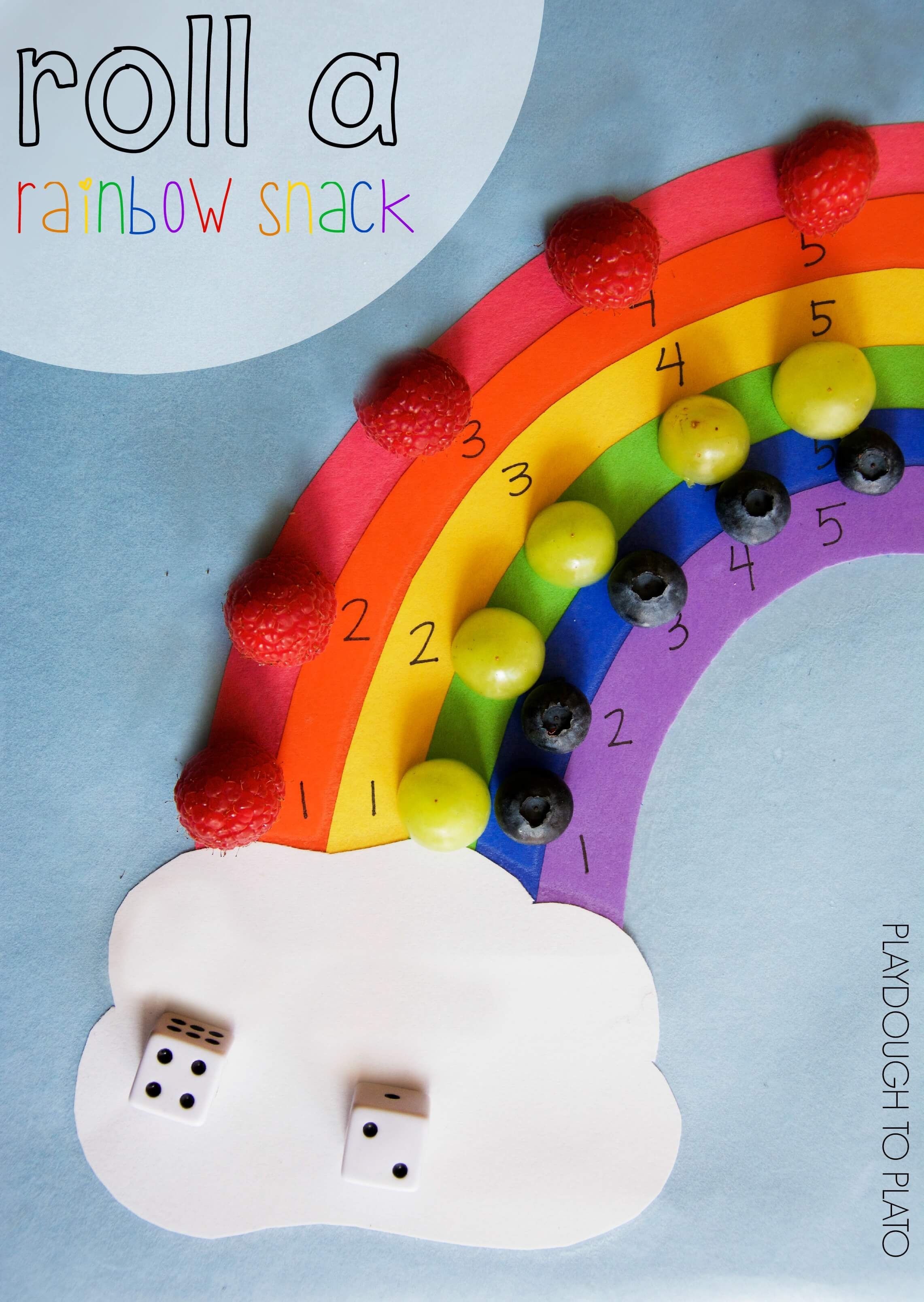 Roll A Rainbow Snack Game Playdough To Plato