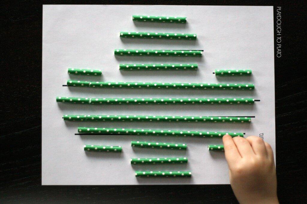 Super fun preschool measurement activity. Straw match up!