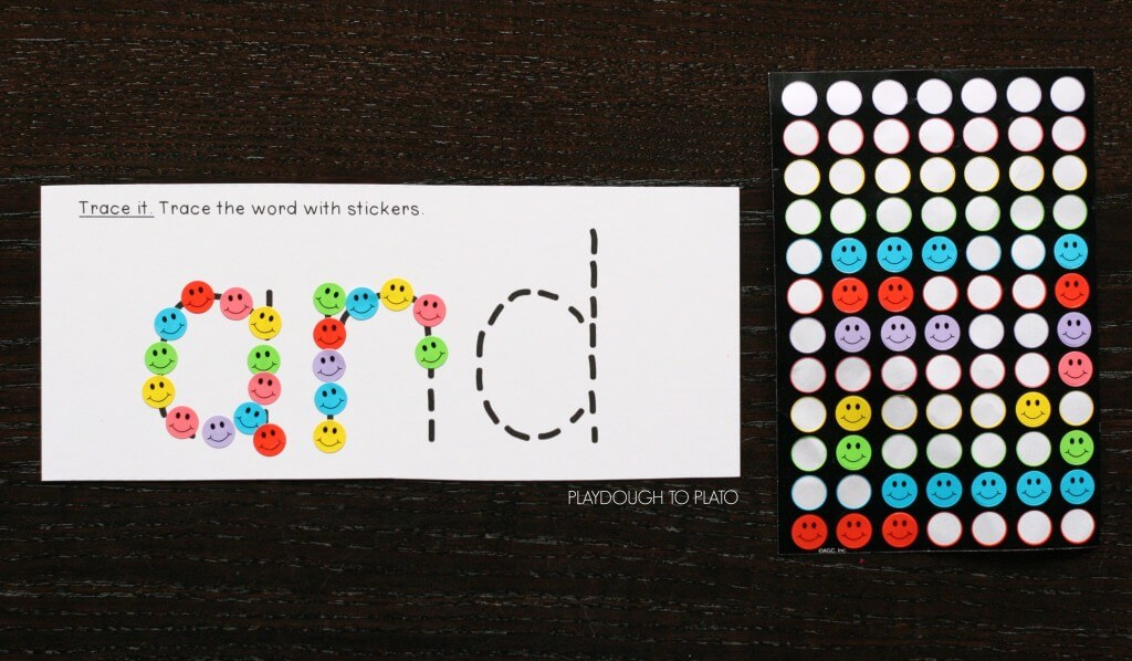 Trace the sight word with stickers