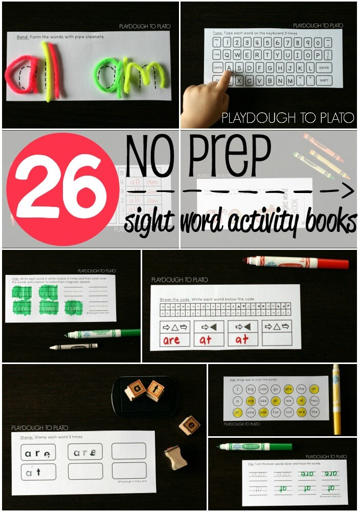26 Awesome NO PREP Sight Word Activity Books