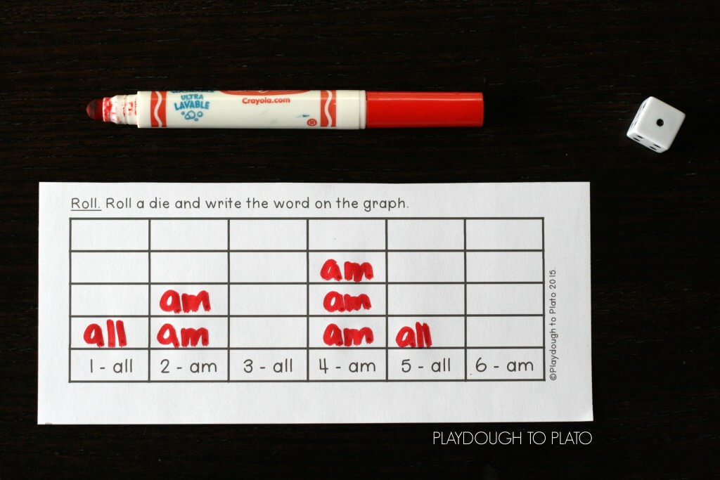 Roll and write the sight words