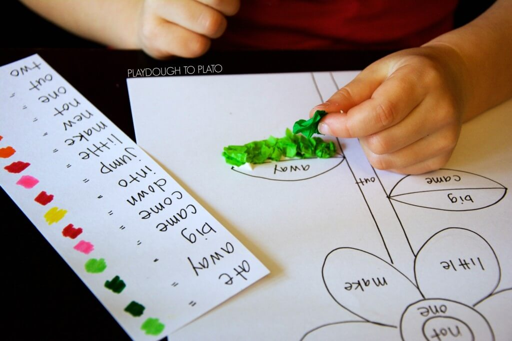 Tissue paper sight word craft for kids